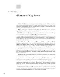 appendix e glossary of key terms airport airline agreements