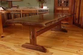 custom made live edge walnut slab trestle dining table furniture