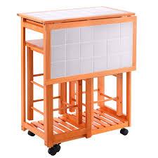 rolling kitchen island trolley cart drop leaf table w 2 stools
