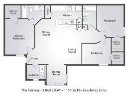 3 Bedroom Apartment Floor Plan Apartment Floor Plans U0026 Pricing U2013 Beachway Links In Melbourne Fl