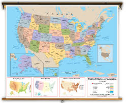 Arizona Us Map by United States Intermediate Political Classroom Map From Academia Maps