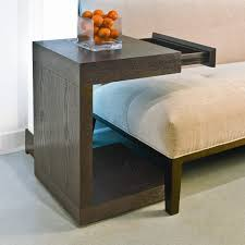 rectangle cube brown wooden nightstand with table lamp added by