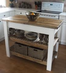vintage unfinished wooden butcher block island cart with two tier
