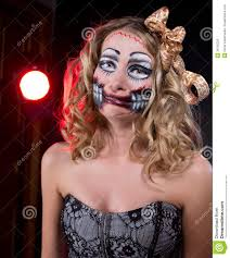 offended woman wearing as chucky doll halloween royalty free
