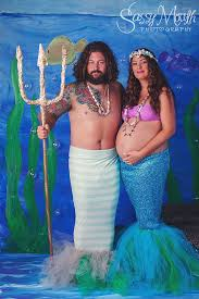 King Neptune Halloween Costume Pregnant Mermaid Merman Portrait Costume Sassy Space