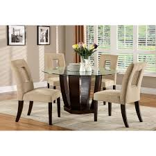 furniture of america ollivander 5 piece glass top dining table set