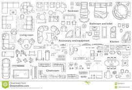 Interior Design Symbols For Floor Plans by Set Top View For Interior Icon Design Floor Plan Stock Vector