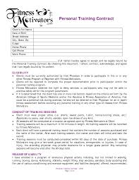 Sample Personal Trainer Resume by Personal Training Contract Agreement Dexmedia Co Personal