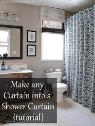 tutorial make any curtain into a shower curtain for the next love little window dressing if you can t find a shower curtain to match your bathroom style then try looking in the regular curtain section