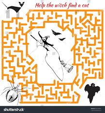 halloween maze game kids visual game stock vector 327625031