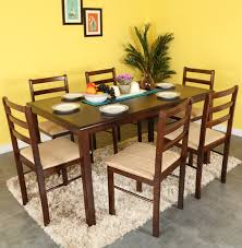 Buy Rubber Wood Furniture Bangalore Woodness Solid Wood 6 Seater Dining Set Price In India Buy