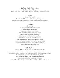 Wedding Reception Buffet Menu Ideas by Wedding Reception Buffet Menu Examples