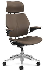 Brown Leather Task Chair Humanscale Freedom Task Chair With Headrest Leather Aluminium