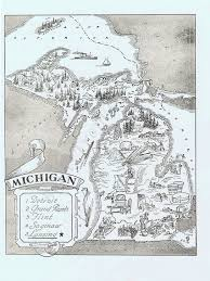 Detroit Michigan Map by Map Of Michigan Vintage Adorable Beautifully Illustrated