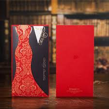 Cheap Typical Asian Red Black Panelled Wedding Invitations Cards Dress Suit Cover Carving Paper Pullout Style DHgate com