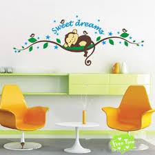 sweet sleeping monkey tree wall stickers cute cartoon wall decals cheap cartoon wall stickers best cheap home wall stickers decor