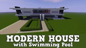 minecraft modern house with a swimming pool how to build