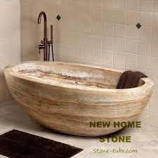 Stone Baths Travertine Oval Bathtub Brown Color High End Freestanding Baths