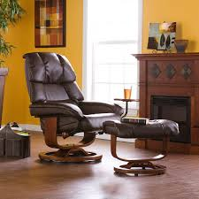 Swivel Recliner Chairs For Living Room Southern Enterprises Leather Swivel Recliner With Ottoman Hayneedle
