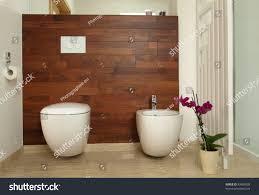 luxurious bathroom wooden wall toilet bidet stock photo 93689038