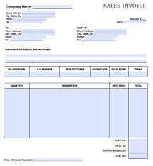 Template For Invoice Word Free Sales Invoice Template Excel Pdf Word Doc