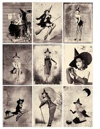 one blank dream free pin up halloween witches atc background