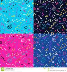 retro 80s seamless pattern background set stock vector image