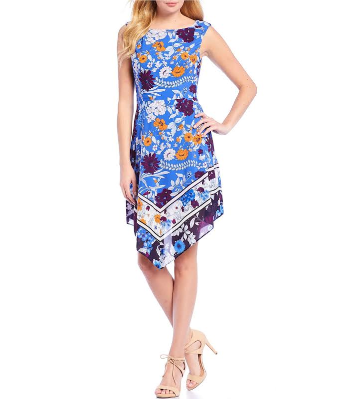 Adrianna Papell Botanical Border Fit And Flare A Line Dress Blue