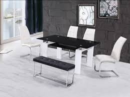 High Gloss Glass Dining Table With  Chairs  Bench Homegenies - Black dining table for 4