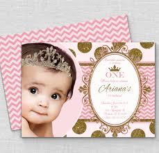 1st birthday princess invitation pink gold princess invitation polk a dot chevron princess