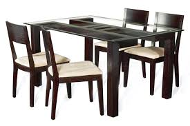 dining small round brown stained pine wood glass dining table