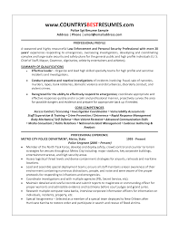 Security Guard Resume Police Officer Resume Samples Free Resume Example And Writing