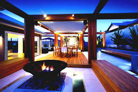 magnificent backyard idea with industrial pergola and fire pit