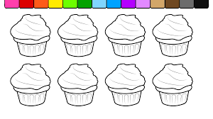 learn colors for kids and color birthday cup cake coloring page