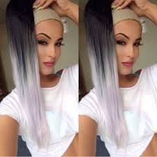 Grey Human Hair Extensions by High Heat Synthetic Drawstring Ponytail Hair Extension Ombre