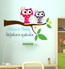 owl decal sisters wall with name owl decal sisters wall with name childrens decor vinyl