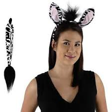 Halloween Costume Ears Zebra Costume Kit Ears Tail Party Halloween Dress