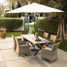 Patio Umbrella Side Table by Belham Living Bella All Weather Wicker 7 Piece Patio Dining Set