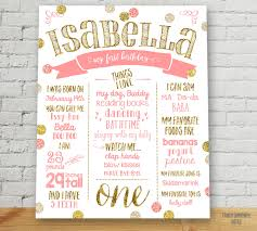 1st birthday princess invitation first birthday poster customized birthday sign pink and gold