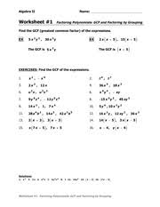 GCF and grouping WS   Algebra II Name  Worksheet    Factoring