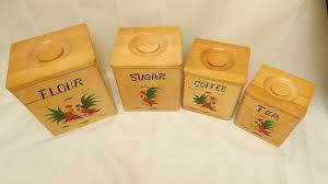 Country Canister Sets For Kitchen Vintage Wood 4pc Canister Set Kitchen Ware Rooster Rustic Country