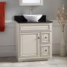 White Vessel Sink Vanity Signature Hardware - Black bathroom vanity with vessel sink