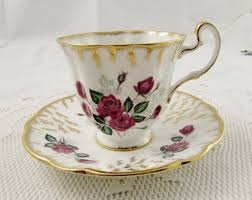 royal adderley tea cup and saucer with red roses vintage bone