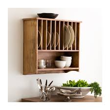 brown wooden wall mounted dish drying rack in an interesting style