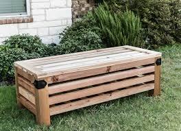 Build Wood Garden Bench by Diy Outdoor Storage Ottoman