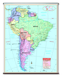 Political Map Of Latin America by Spring Roller Wall Maps For Your Classroom