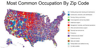 Color Coded Map Of Usa by These Maps Show The Most Common Jobs In Each Zip Code Huffpost