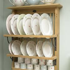 Kitchen Plate Rack Cabinet by Interior Mounted Birch Wood Plate Racks With Cup Hooks As Well As