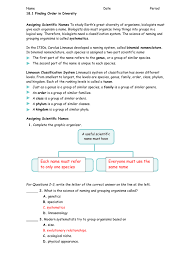 classification study guide answers