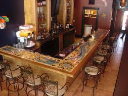farmhouse stone panel counter bar combined with black polished